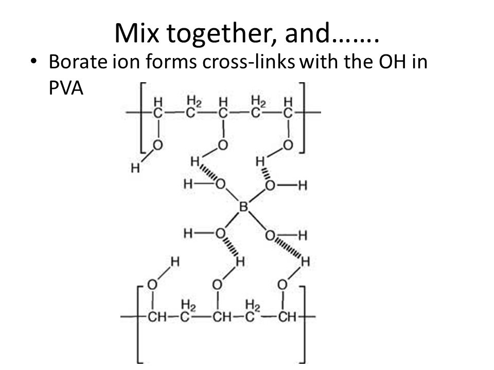 Mix together, and……. Borate ion forms cross-links with the OH in PVA