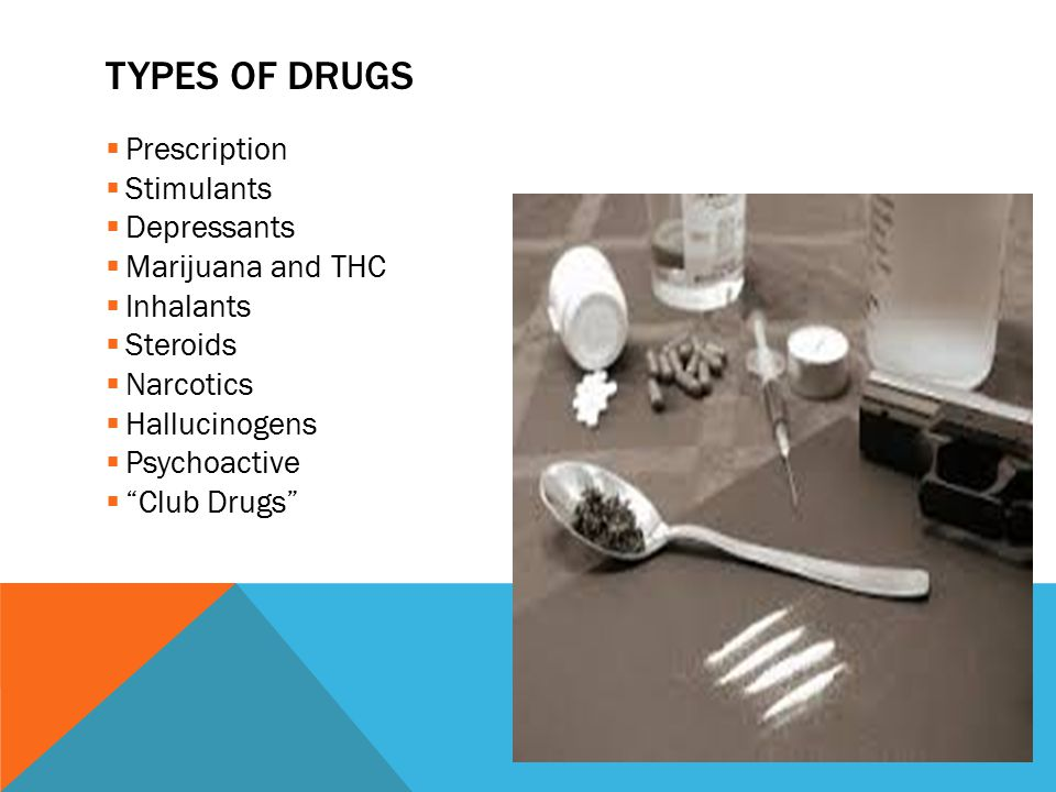 TYPES OF DRUGS  Prescription  Stimulants  Depressants  Marijuana and THC  Inhalants  Steroids  Narcotics  Hallucinogens  Psychoactive  Club Drugs
