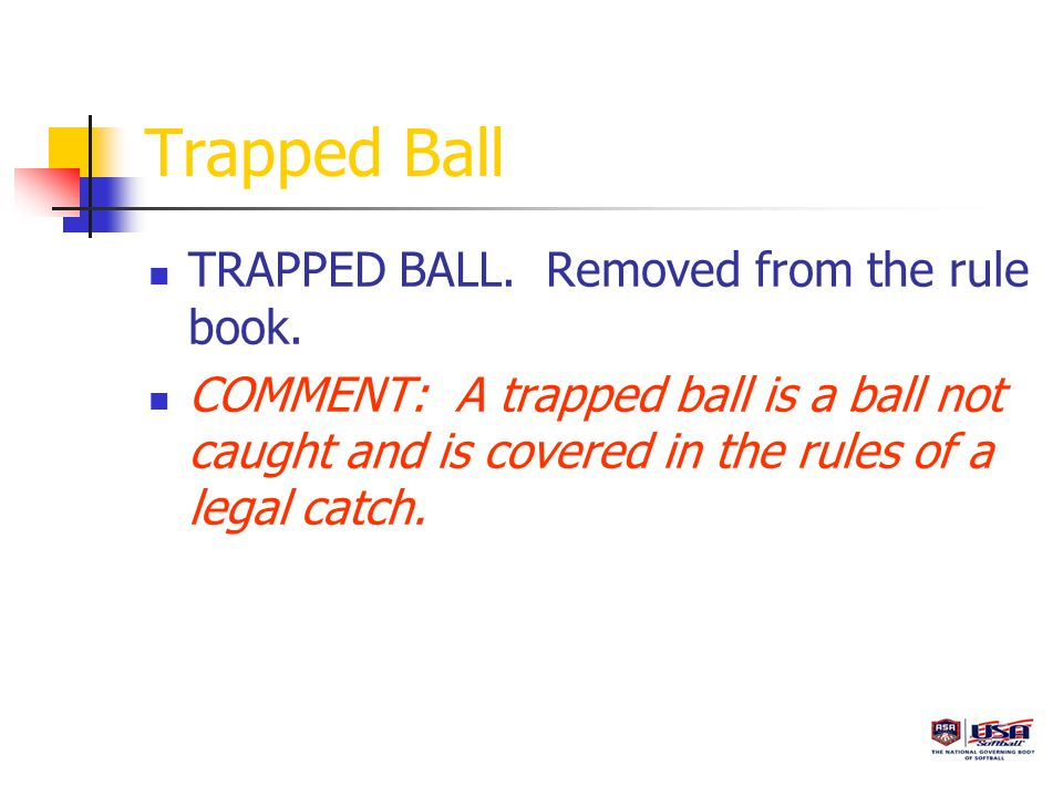 Trapped Ball TRAPPED BALL. Removed from the rule book.