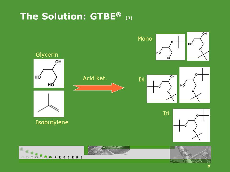 9 The Solution: GTBE ® (2) Mono Di Tri Acid kat. Glycerin Isobutylene