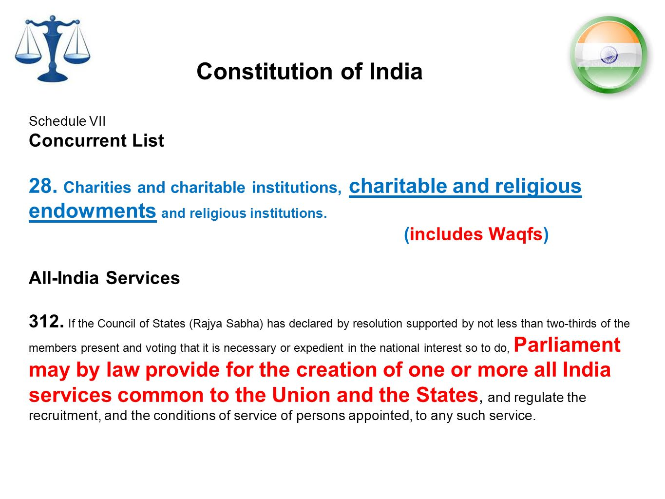 Constitution of India Schedule VII Concurrent List 28. Charities and charitable institutions, charitable and religious endowments and religious instit