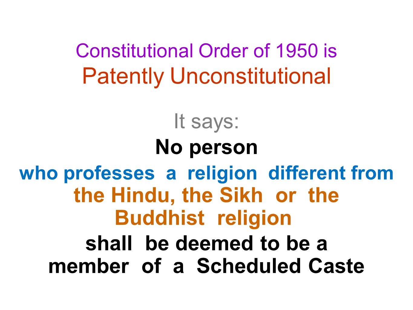 15.The State shall not discriminate against any citizen on grounds only of religion ….