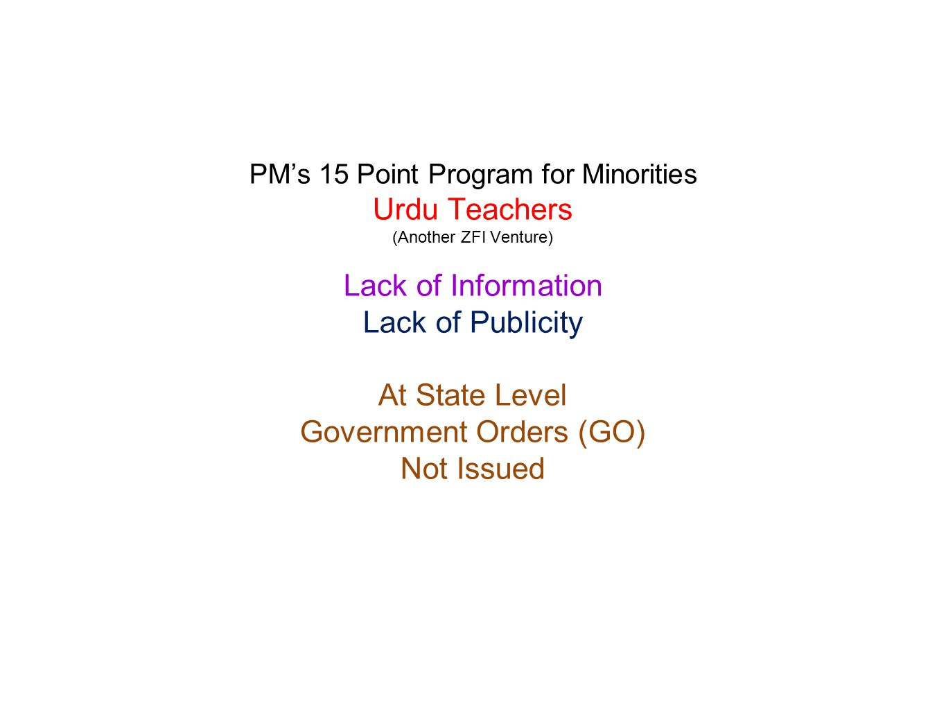 PM's 15 Point Program for Minorities Urdu Teachers (Another ZFI Venture) Lack of Information Lack of Publicity At State Level Government Orders (GO) N
