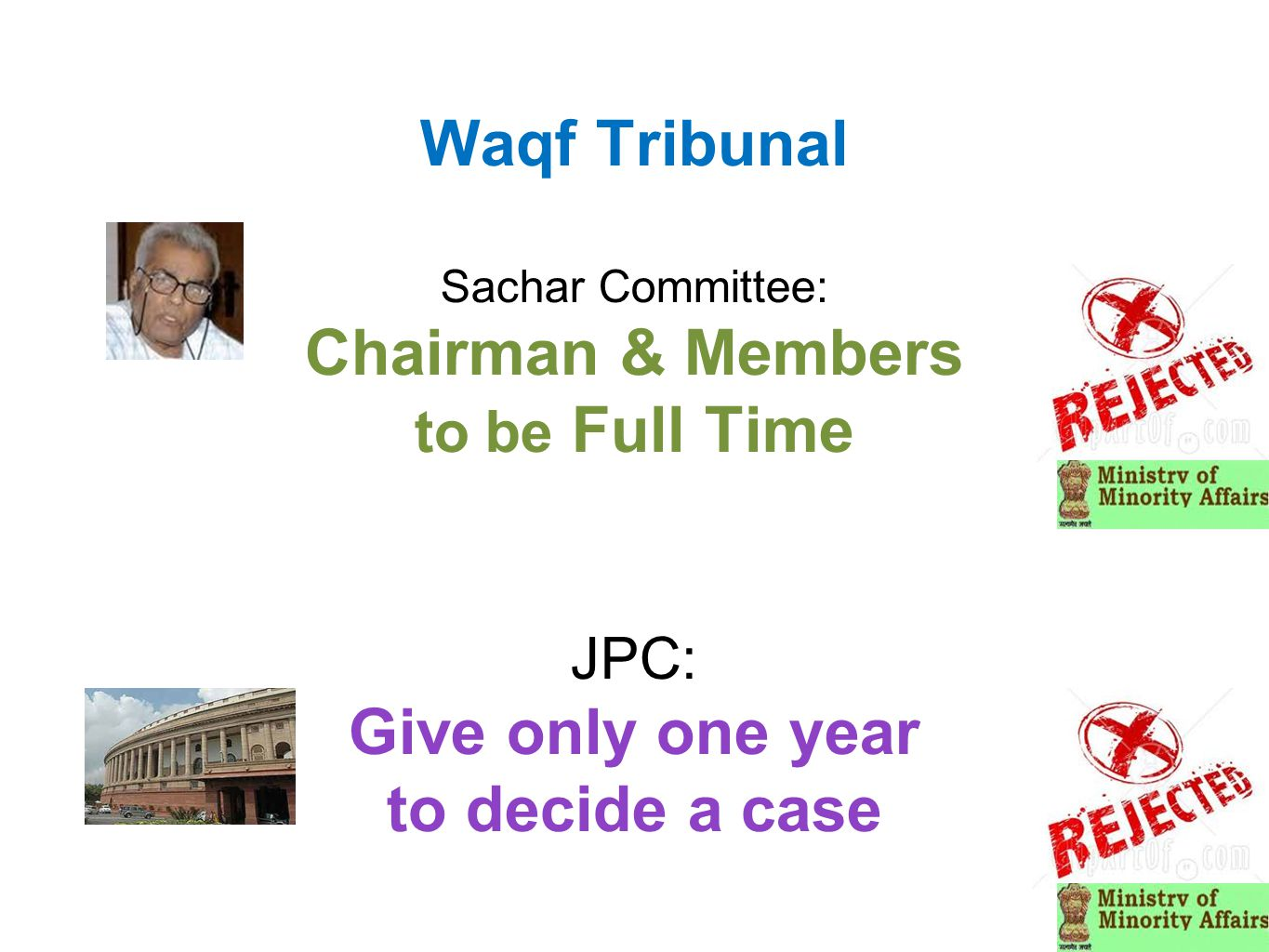 Waqf Tribunal Sachar Committee: Chairman & Members to be Full Time JPC: Give only one year to decide a case