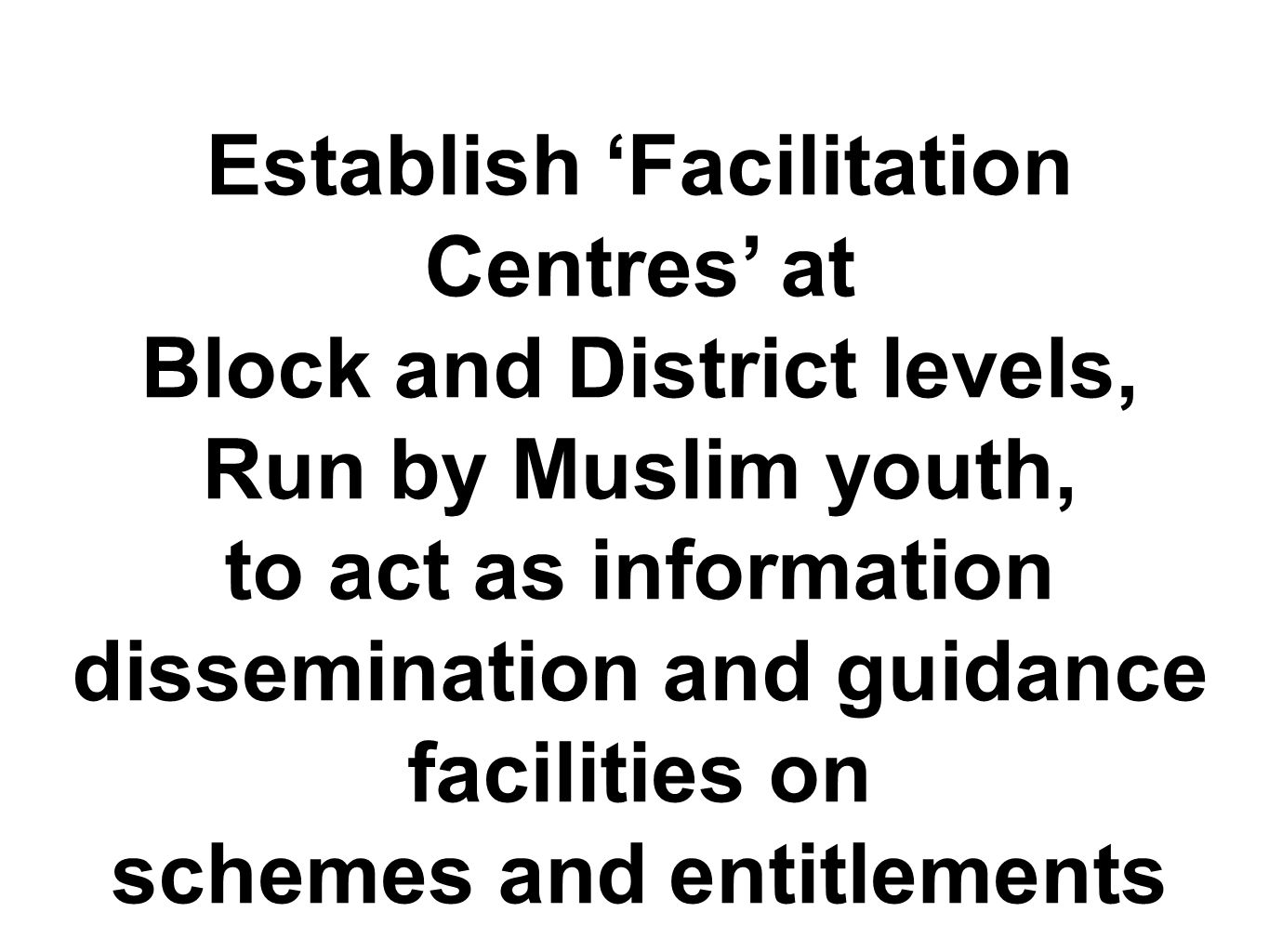 Establish 'Facilitation Centres' at Block and District levels, Run by Muslim youth, to act as information dissemination and guidance facilities on sch