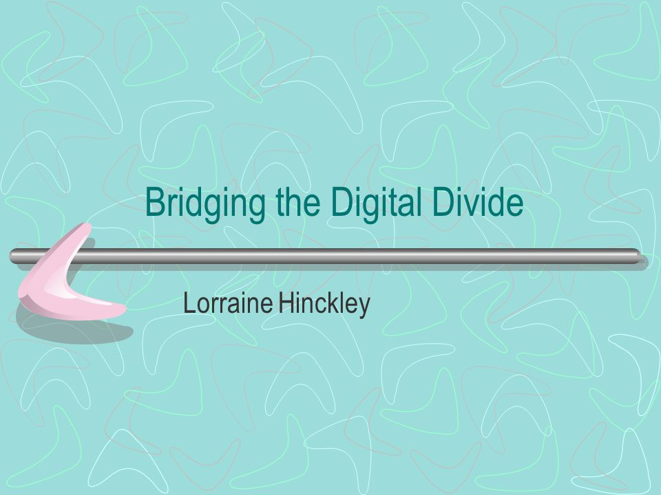 Bridging the Digital Divide Lorraine Hinckley