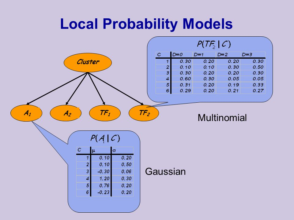 Local Probability Models Cluster A1A1 A2A2 TF 1 TF 2 Multinomial Gaussian