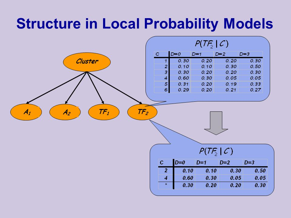 Structure in Local Probability Models Cluster A1A1 A2A2 TF 1 TF 2
