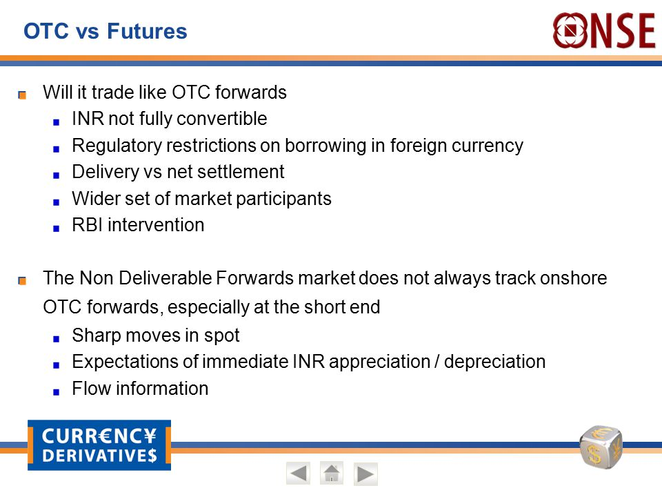 OTC vs Futures Will it trade like OTC forwards INR not fully convertible Regulatory restrictions on borrowing in foreign currency Delivery vs net sett