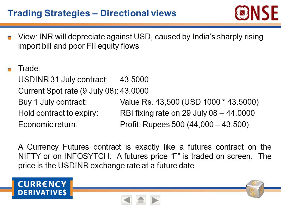 Trading Strategies – Directional views View: INR will depreciate against USD, caused by India's sharply rising import bill and poor FII equity flows T