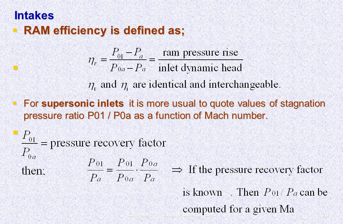 Chapter2 Shaft Power Cycles28 Intakes  RAM efficiency is defined as;   For supersonic inlets it is more usual to quote values of stagnation pressur