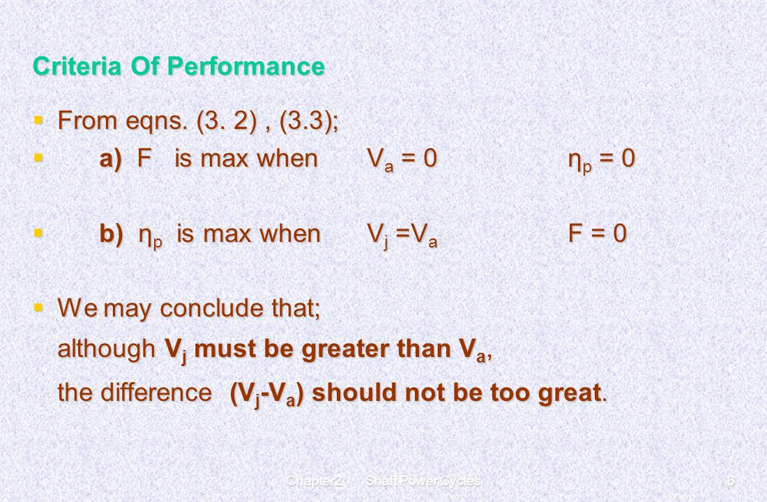 Chapter2 Shaft Power Cycles6 Criteria Of Performance  From eqns. (3. 2), (3.3);  a) F is max when V a = 0η p = 0  b) η p is max when V j =V a F = 0