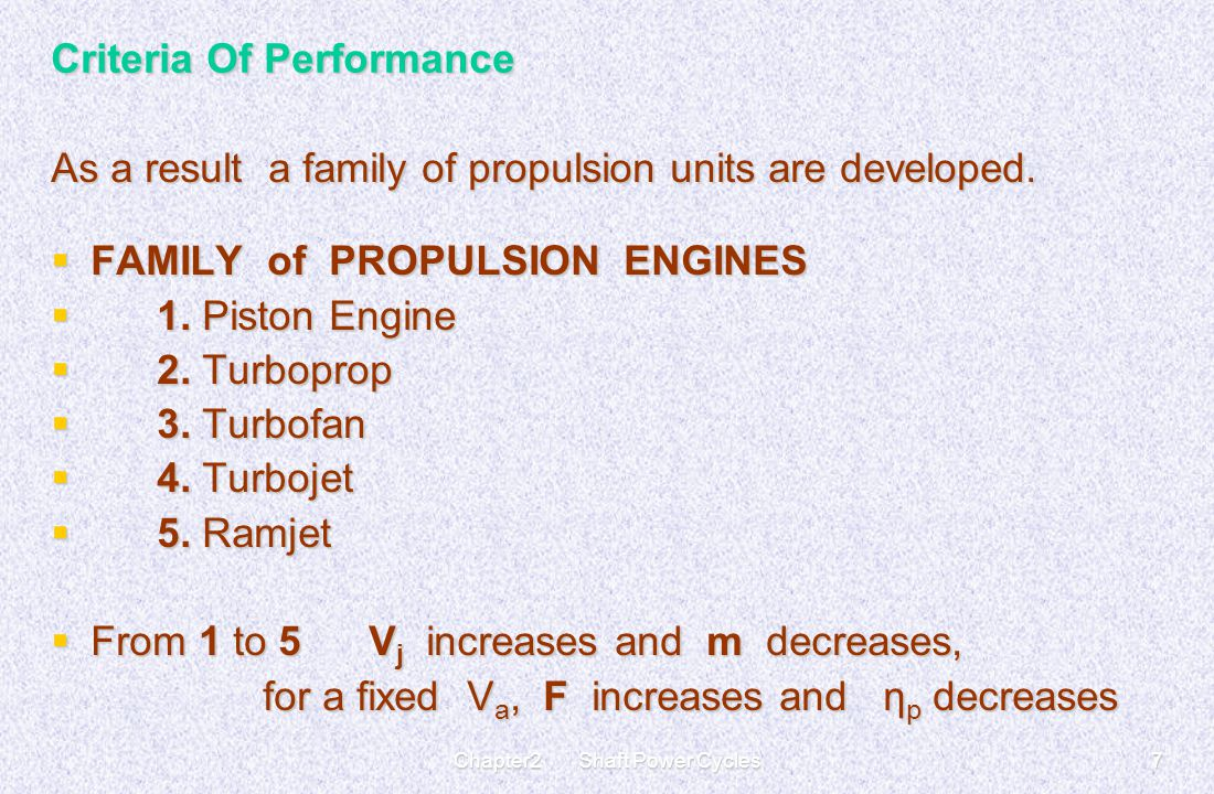 Chapter2 Shaft Power Cycles7 Criteria Of Performance As a result a family of propulsion units are developed.  FAMILY of PROPULSION ENGINES  1. Pisto