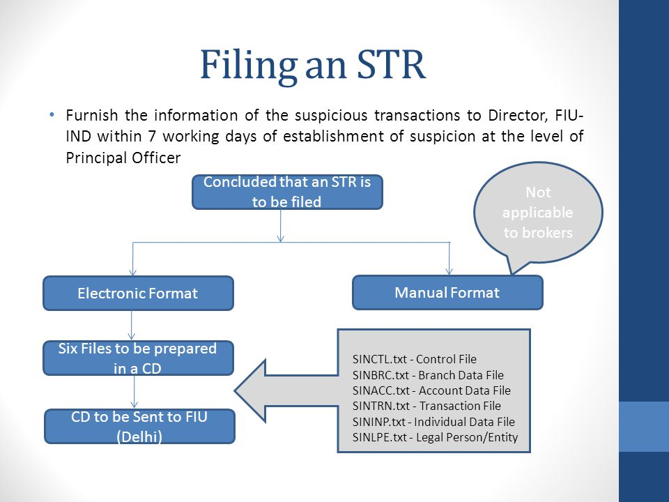 Filing an STR Furnish the information of the suspicious transactions to Director, FIU- IND within 7 working days of establishment of suspicion at the level of Principal Officer Concluded that an STR is to be filed Electronic Format Manual Format Six Files to be prepared in a CD CD to be Sent to FIU (Delhi) Not applicable to brokers SINCTL.txt - Control File SINBRC.txt - Branch Data File SINACC.txt - Account Data File SINTRN.txt - Transaction File SININP.txt - Individual Data File SINLPE.txt - Legal Person/Entity