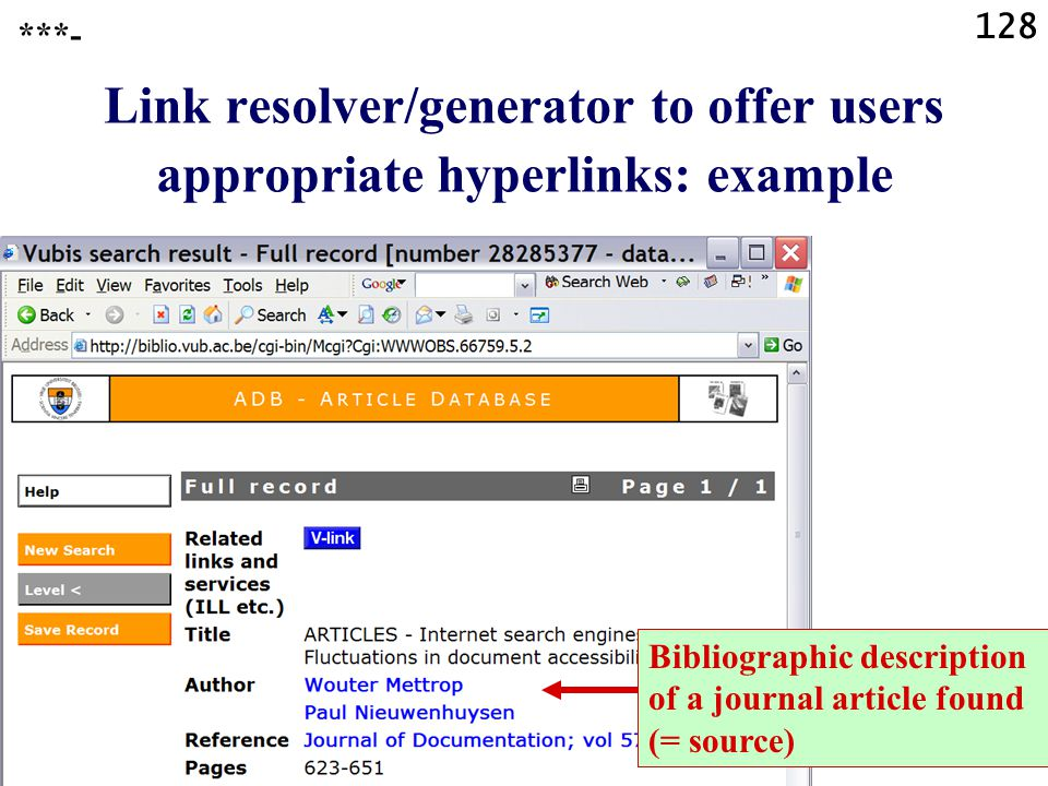 128 Link resolver/generator to offer users appropriate hyperlinks: example ***- Possible targets Bibliographic description of a journal article found (= source)