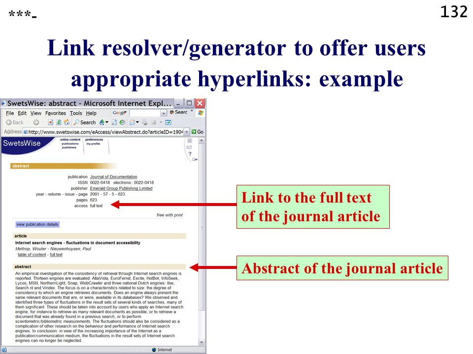 132 Link resolver/generator to offer users appropriate hyperlinks: example ***- Link to the full text of the journal article Abstract of the journal article