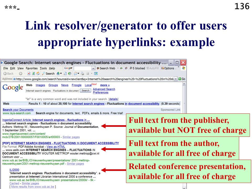 136 Link resolver/generator to offer users appropriate hyperlinks: example ***- Full text from the publisher, available but NOT free of charge Full te