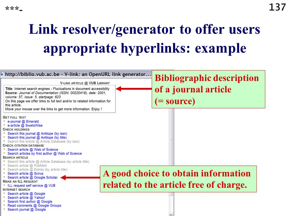 137 Link resolver/generator to offer users appropriate hyperlinks: example ***- Bibliographic description of a journal article (= source) A good choic