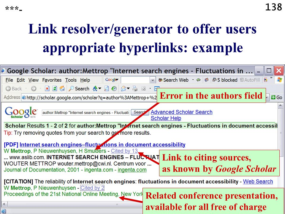 138 Link resolver/generator to offer users appropriate hyperlinks: example ***- Error in the authors field Link to citing sources, as known by Google Scholar Related conference presentation, available for all free of charge