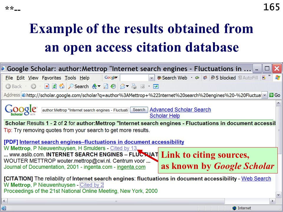 165 Link to citing sources, as known by Google Scholar Example of the results obtained from an open access citation database **--