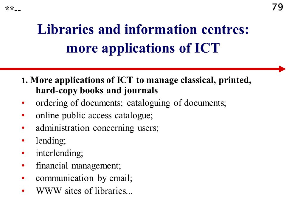 79 Libraries and information centres: more applications of ICT 1. More applications of ICT to manage classical, printed, hard-copy books and journals
