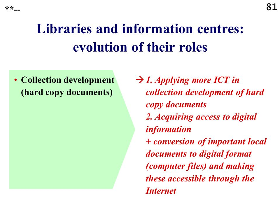 81 Libraries and information centres: evolution of their roles Collection development (hard copy documents)  1. Applying more ICT in collection devel