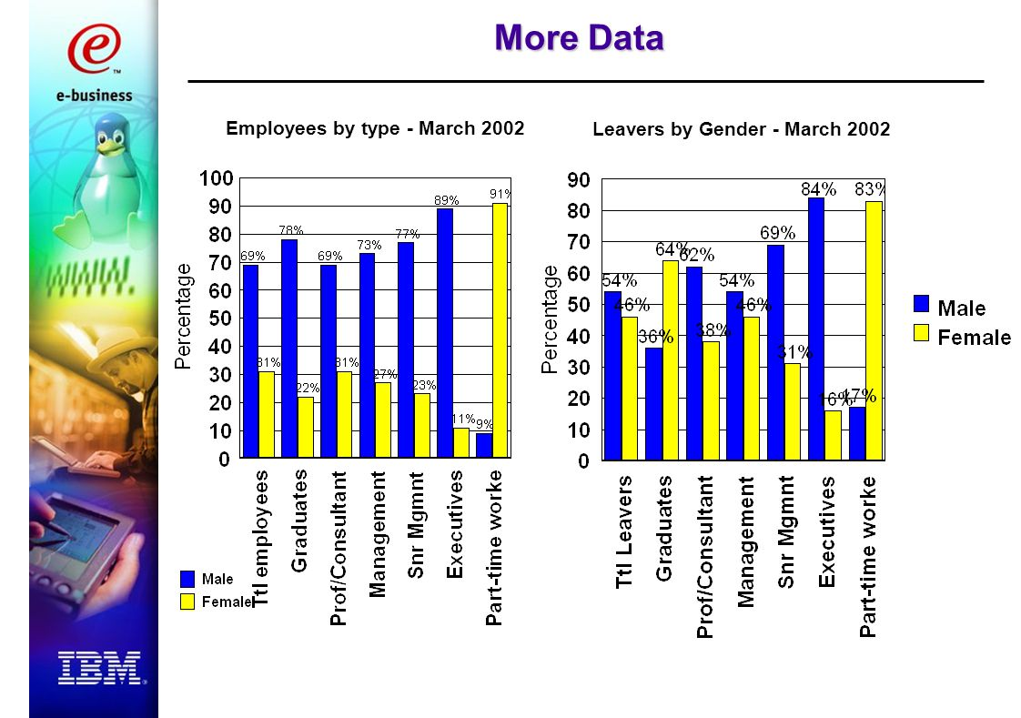 Employees by type - March 2002 Leavers by Gender - March 2002 More Data