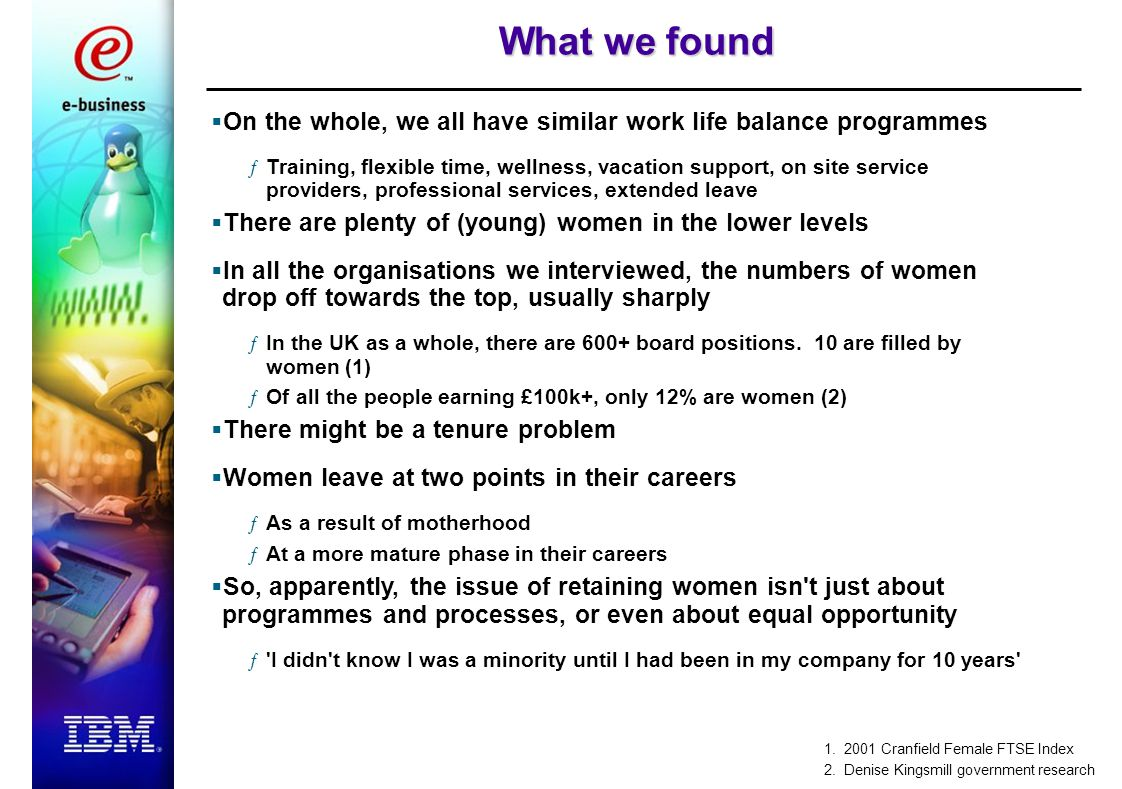 What we found  On the whole, we all have similar work life balance programmes ƒTraining, flexible time, wellness, vacation support, on site service providers, professional services, extended leave  There are plenty of (young) women in the lower levels  In all the organisations we interviewed, the numbers of women drop off towards the top, usually sharply ƒIn the UK as a whole, there are 600+ board positions.