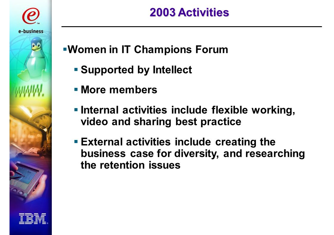 2003 Activities  Women in IT Champions Forum  Supported by Intellect  More members  Internal activities include flexible working, video and sharing best practice  External activities include creating the business case for diversity, and researching the retention issues