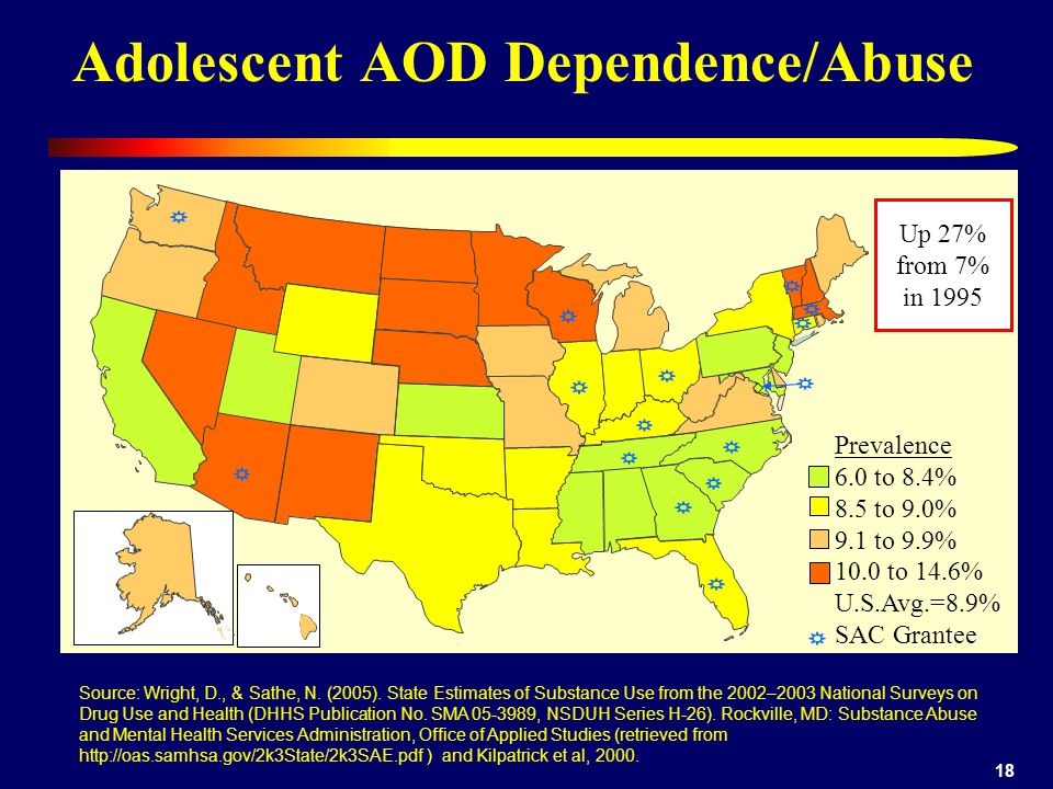 18 Adolescent AOD Dependence/Abuse Prevalence 6.0 to 8.4% 8.5 to 9.0% 9.1 to 9.9% 10.0 to 14.6% U.S.Avg.=8.9% SAC Grantee Source: Wright, D., & Sathe, N.