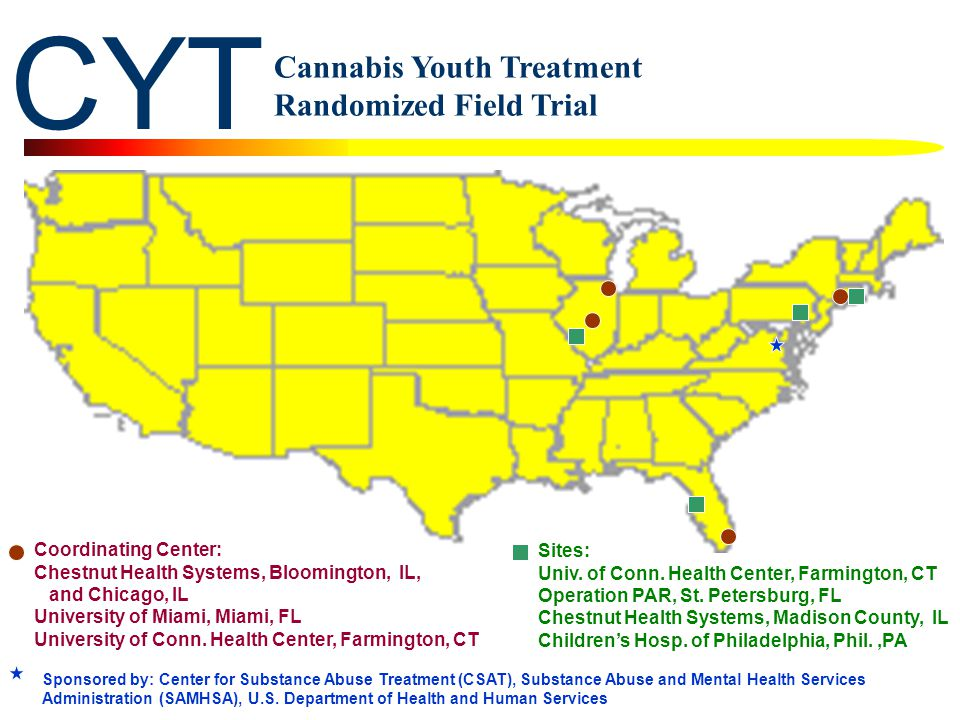 CYT Cannabis Youth Treatment Randomized Field Trial Sponsored by: Center for Substance Abuse Treatment (CSAT), Substance Abuse and Mental Health Services Administration (SAMHSA), U.S.