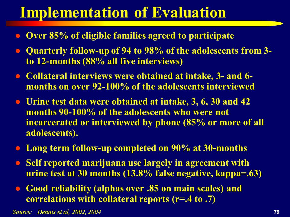 79 Implementation of Evaluation Over 85% of eligible families agreed to participate Quarterly follow-up of 94 to 98% of the adolescents from 3- to 12-months (88% all five interviews) Collateral interviews were obtained at intake, 3- and 6- months on over 92-100% of the adolescents interviewed Urine test data were obtained at intake, 3, 6, 30 and 42 months 90-100% of the adolescents who were not incarcerated or interviewed by phone (85% or more of all adolescents).