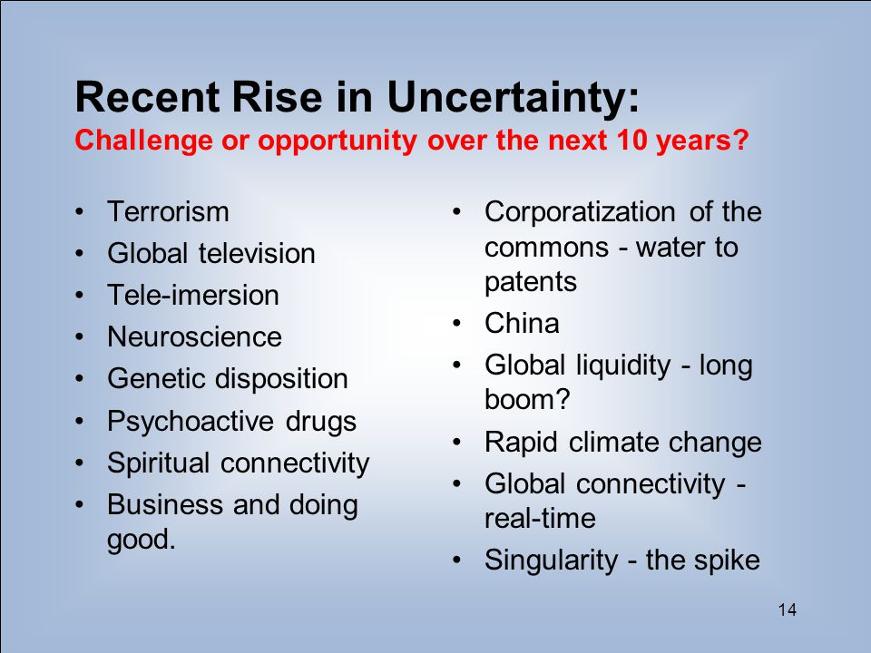 14 Recent Rise in Uncertainty: Challenge or opportunity over the next 10 years? Terrorism Global television Tele-imersion Neuroscience Genetic disposi
