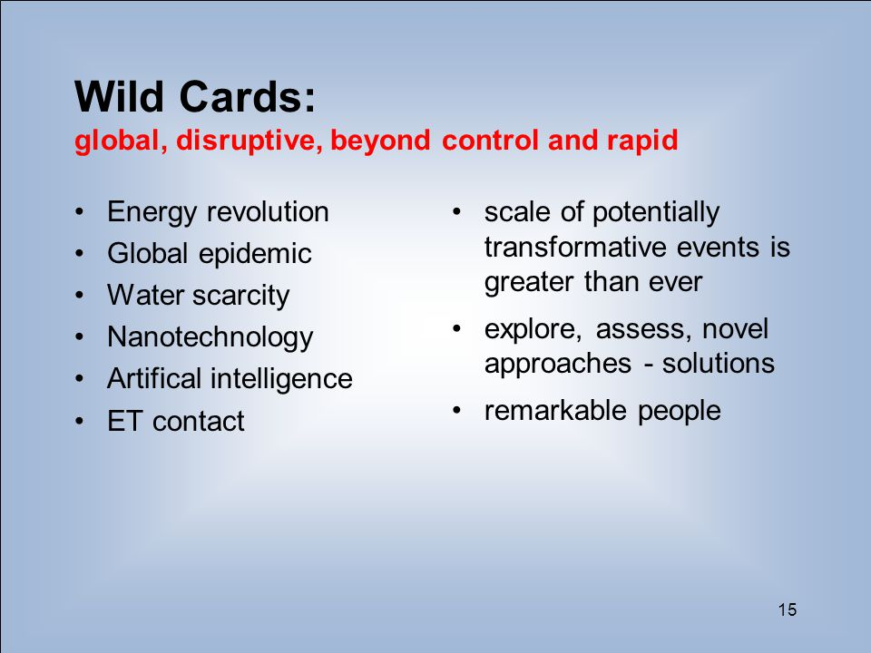 15 Wild Cards: global, disruptive, beyond control and rapid Energy revolution Global epidemic Water scarcity Nanotechnology Artifical intelligence ET