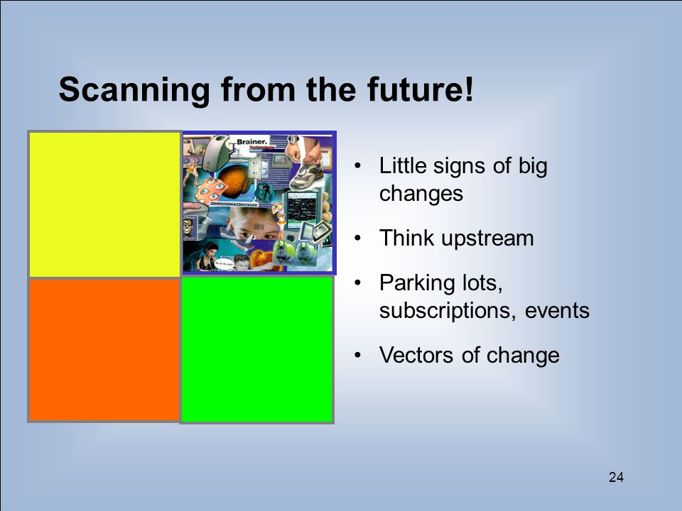 24 Scanning from the future! Little signs of big changes Think upstream Parking lots, subscriptions, events Vectors of change