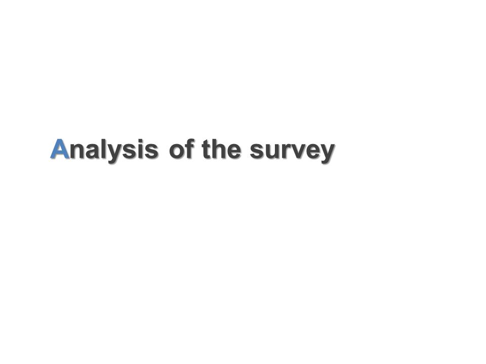 Analysis of the survey Analysis of the survey