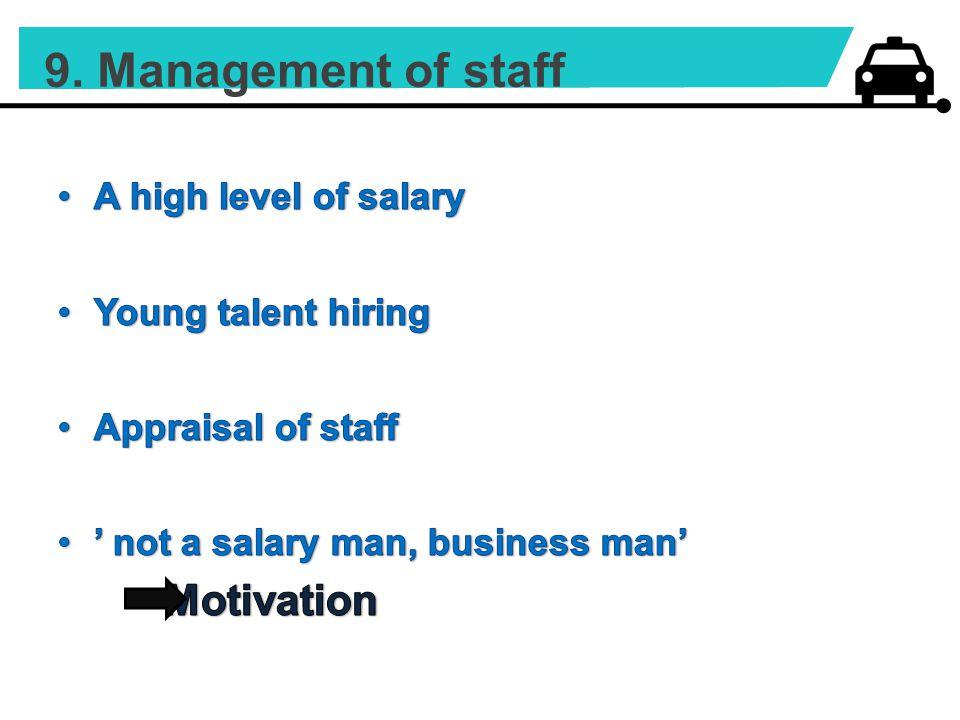 9. Management of staff