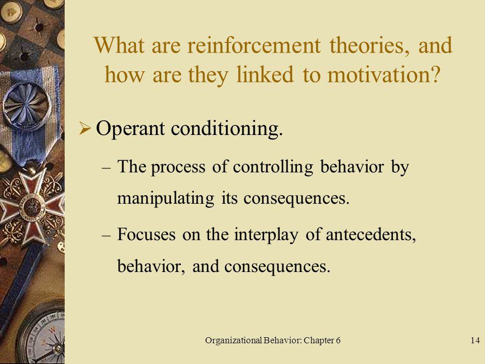 Organizational Behavior: Chapter 614 What are reinforcement theories, and how are they linked to motivation?  Operant conditioning. – The process of