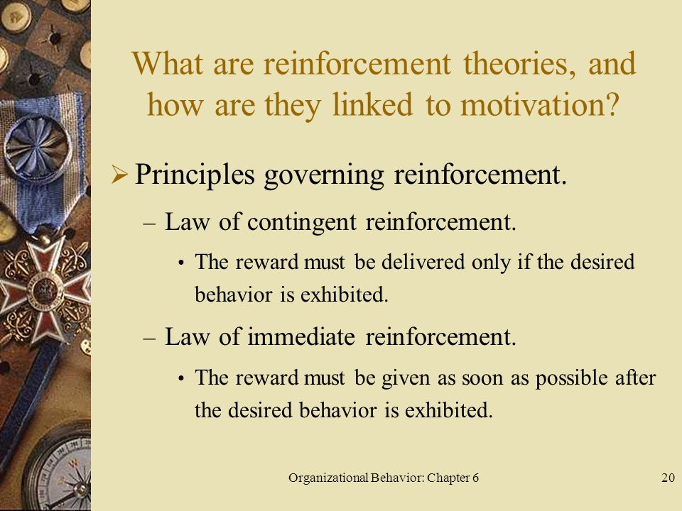 Organizational Behavior: Chapter 620 What are reinforcement theories, and how are they linked to motivation?  Principles governing reinforcement. – L