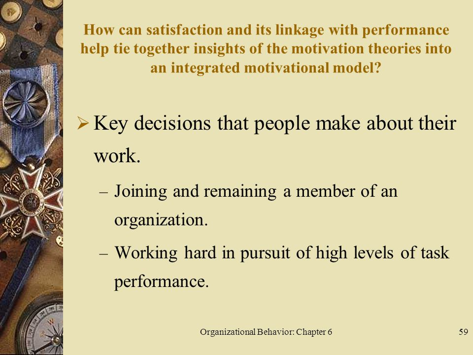 Organizational Behavior: Chapter 659 How can satisfaction and its linkage with performance help tie together insights of the motivation theories into