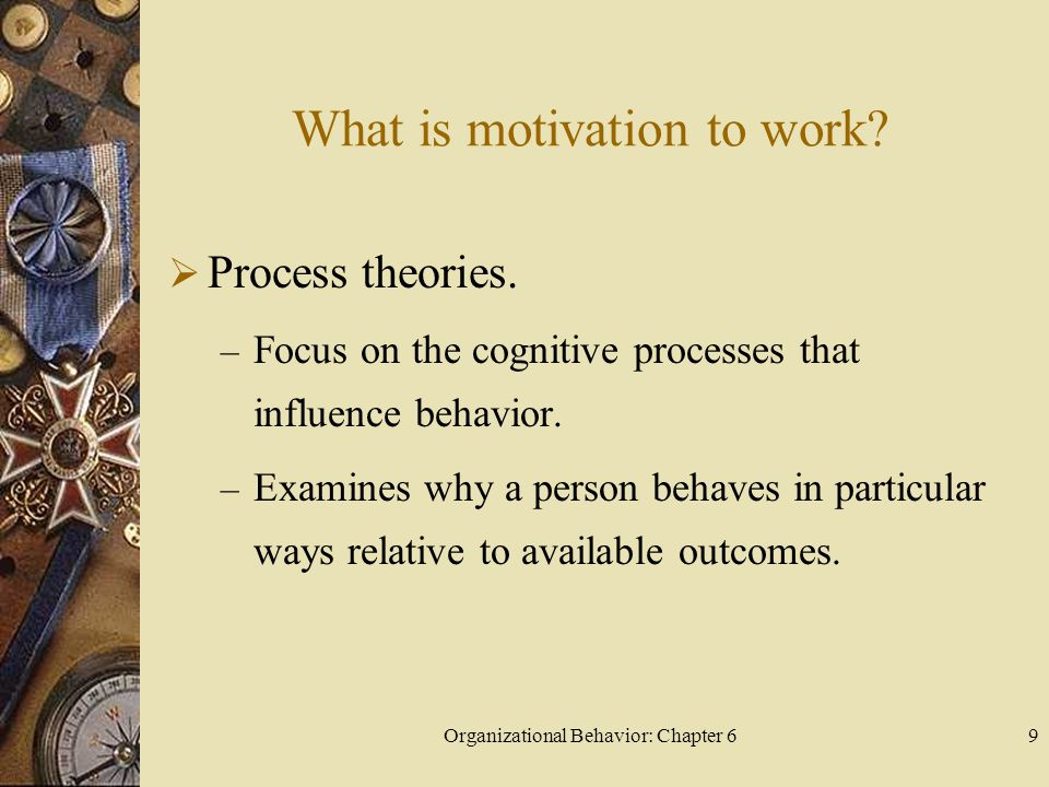 Organizational Behavior: Chapter 69 What is motivation to work?  Process theories. – Focus on the cognitive processes that influence behavior. – Exam