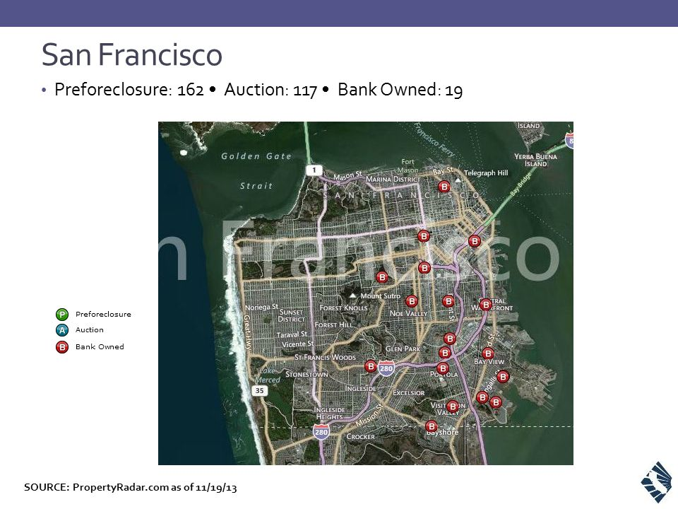 Preforeclosure: 162 Auction: 117 Bank Owned: 19 San Francisco SOURCE: PropertyRadar.com as of 11/19/13