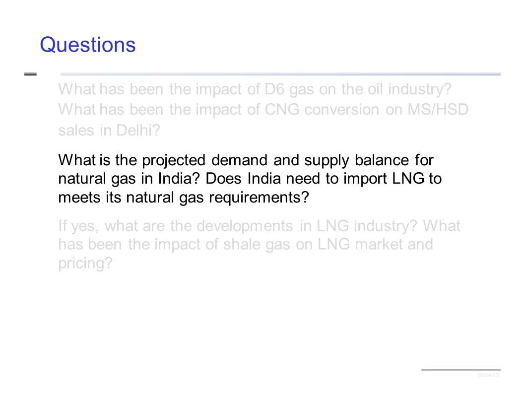 Questions What has been the impact of D6 gas on the oil industry.