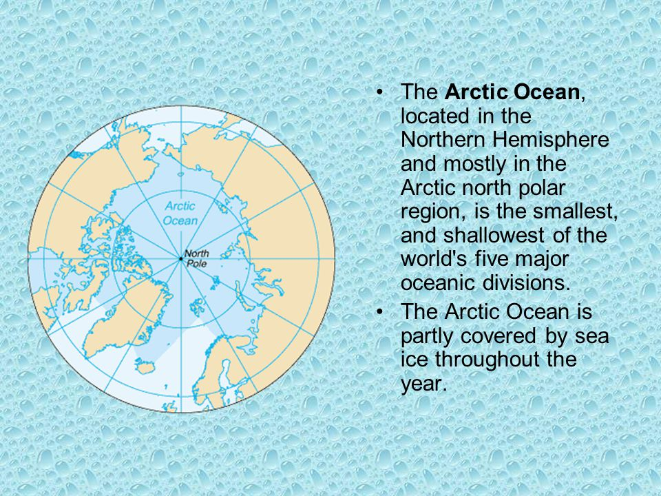 The Arctic Ocean, located in the Northern Hemisphere and mostly in the Arctic north polar region, is the smallest, and shallowest of the world s five major oceanic divisions.