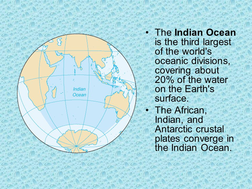 The Indian Ocean is the third largest of the world s oceanic divisions, covering about 20% of the water on the Earth s surface.