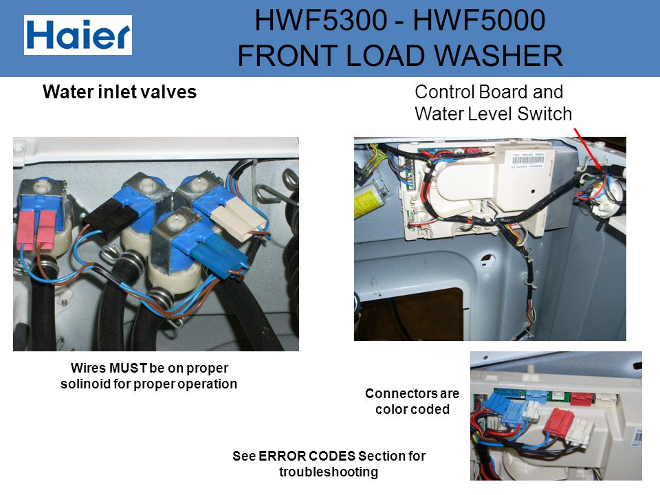 HWF5300 - HWF5000 FRONT LOAD WASHER Control Board and Water Level Switch Water inlet valves Wires MUST be on proper solinoid for proper operation Conn