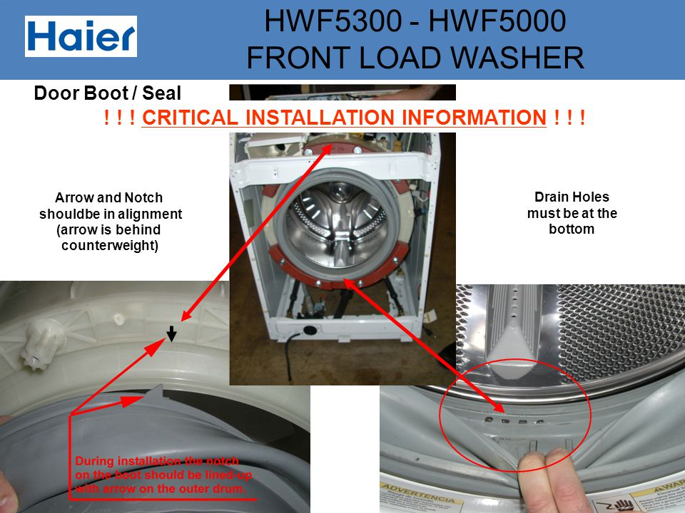 HWF5300 - HWF5000 FRONT LOAD WASHER Arrow and Notch shouldbe in alignment (arrow is behind counterweight) Drain Holes must be at the bottom ! ! ! CRIT