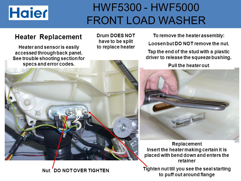 HWF5300 - HWF5000 FRONT LOAD WASHER Heater Replacement Heater and sensor is easily accessed through back panel. See trouble shooting section for specs