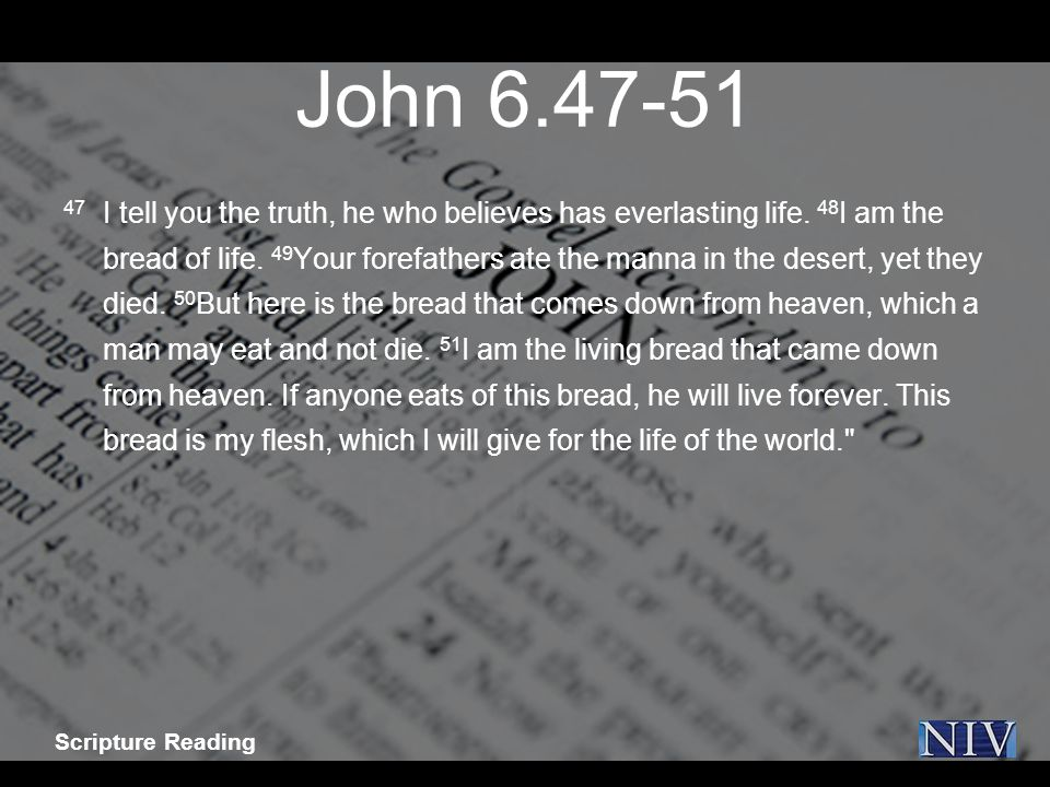 John 6.47-51 47 I tell you the truth, he who believes has everlasting life.