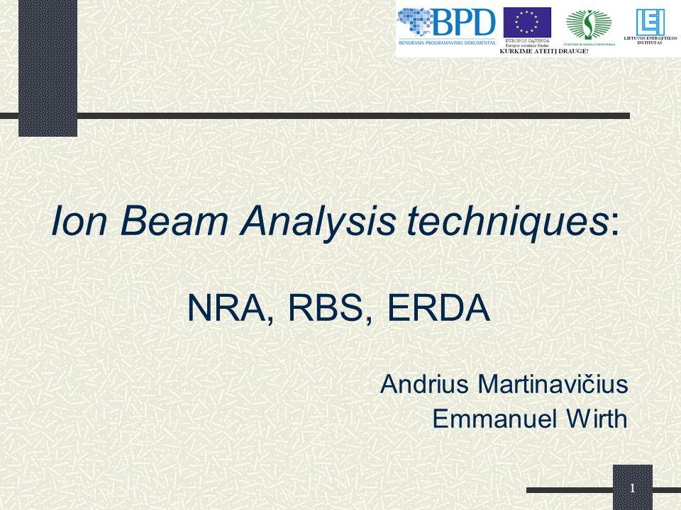 1 Ion Beam Analysis techniques: NRA, RBS, ERDA Andrius Martinavičius Emmanuel Wirth